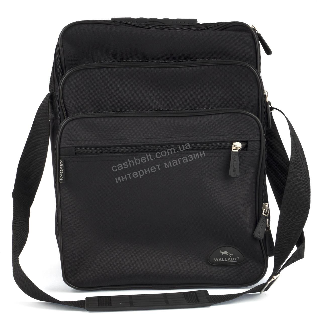 Вместительная мужская текстильная сумка черного цвета  WALLABY art. 2281 Украина