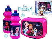 "Набор ""Frozen (Холодное сердце)"": лачбокс для завтрака + бутылка, цвет малиновый"