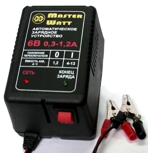 Автоматическое зарядное устройство 0,3-1,2А 6В для мото аккумуляторов