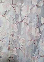 Тюль - печать цветы 74