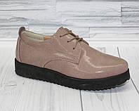 Туфли на шнурках для девочки. натуральная кожа 0376