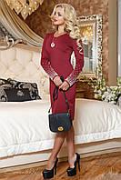 Элегантное женское платье из трикотажа цвета марсала