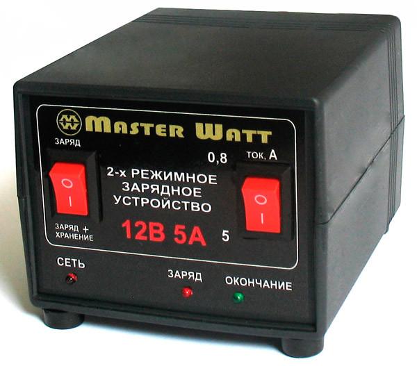 Автоматичний зарядний пристрій 0,8-5А 12В 2-х режимний Masterwatt
