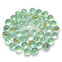 Камни для декора шарики прозрачные с рисунком цветные d 1,5 см