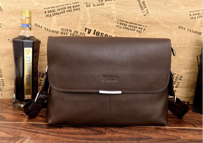 Мужская сумка Polo через плечо темно-коричневая