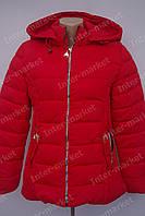Осенняя  женская куртка  с капюшоном  на замке красная
