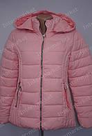 Осенняя  женская куртка  с капюшоном  на замке розовая