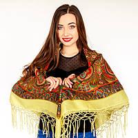 Модна українська хустка з орнаментом для жінок (125х125см, шампань, 100%-акрил)