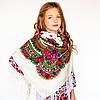 Украинский модный платок для девушек (90х90см,белый, 100%-акрил)