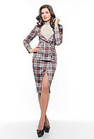 Деловой женский костюм в клеточку  SO-14077-BEG  ТМ Alpama 46-50 размер
