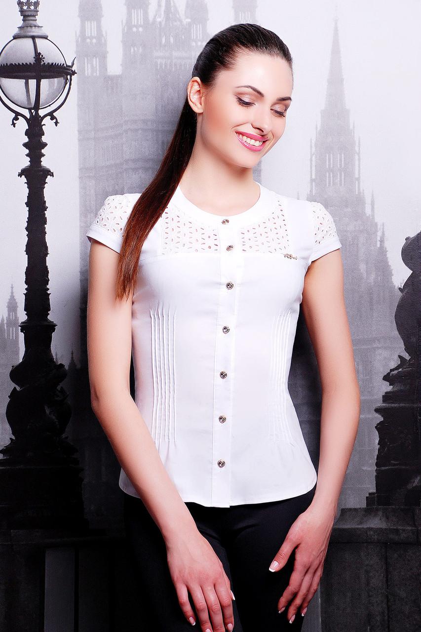 Женская блузка белого цвета с коротким рукавом Снежана размеры XSSML
