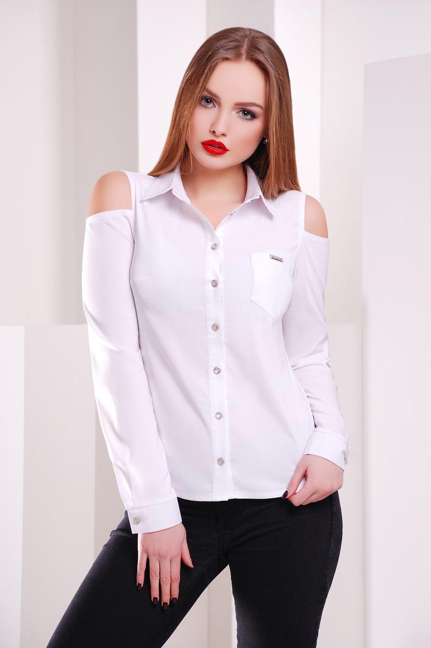 Белая блузка с вырезами на плечах Палерма, размеры S, M, L