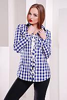 Рубашка в клетку со шнуровкой Рондо, синяя клетка, размеры  S, M, L