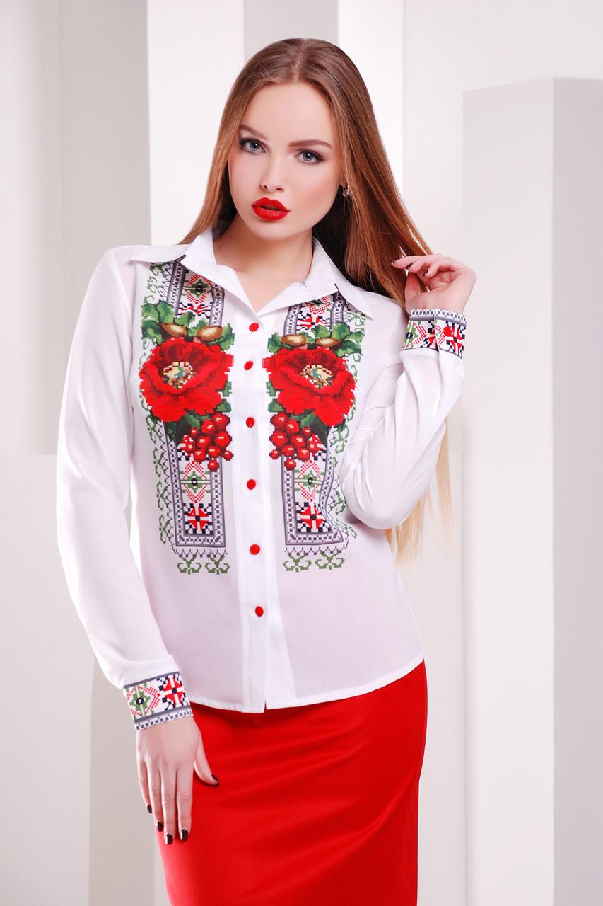 Белая блузка с маками Вышивка-маки блуза Верина-2 размеры S, M, L