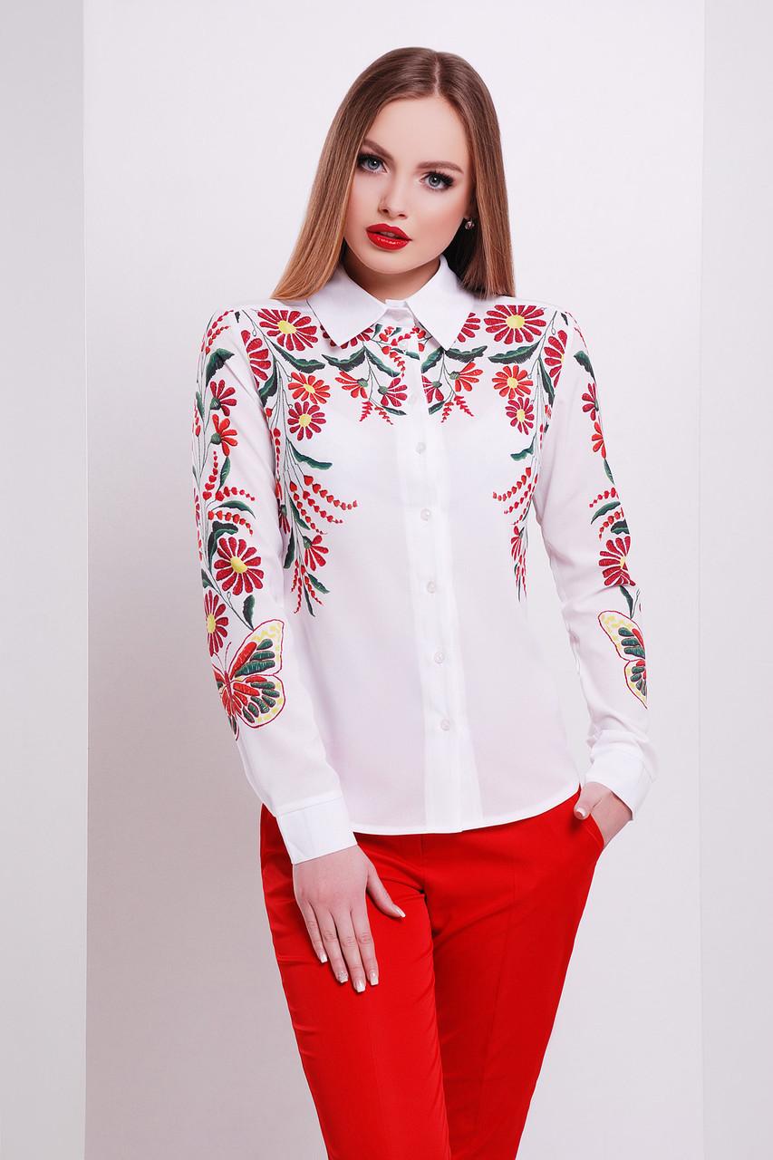 Белая блузка с цветами Вышивка-бабочка блуза Верина-3 размеры M, L