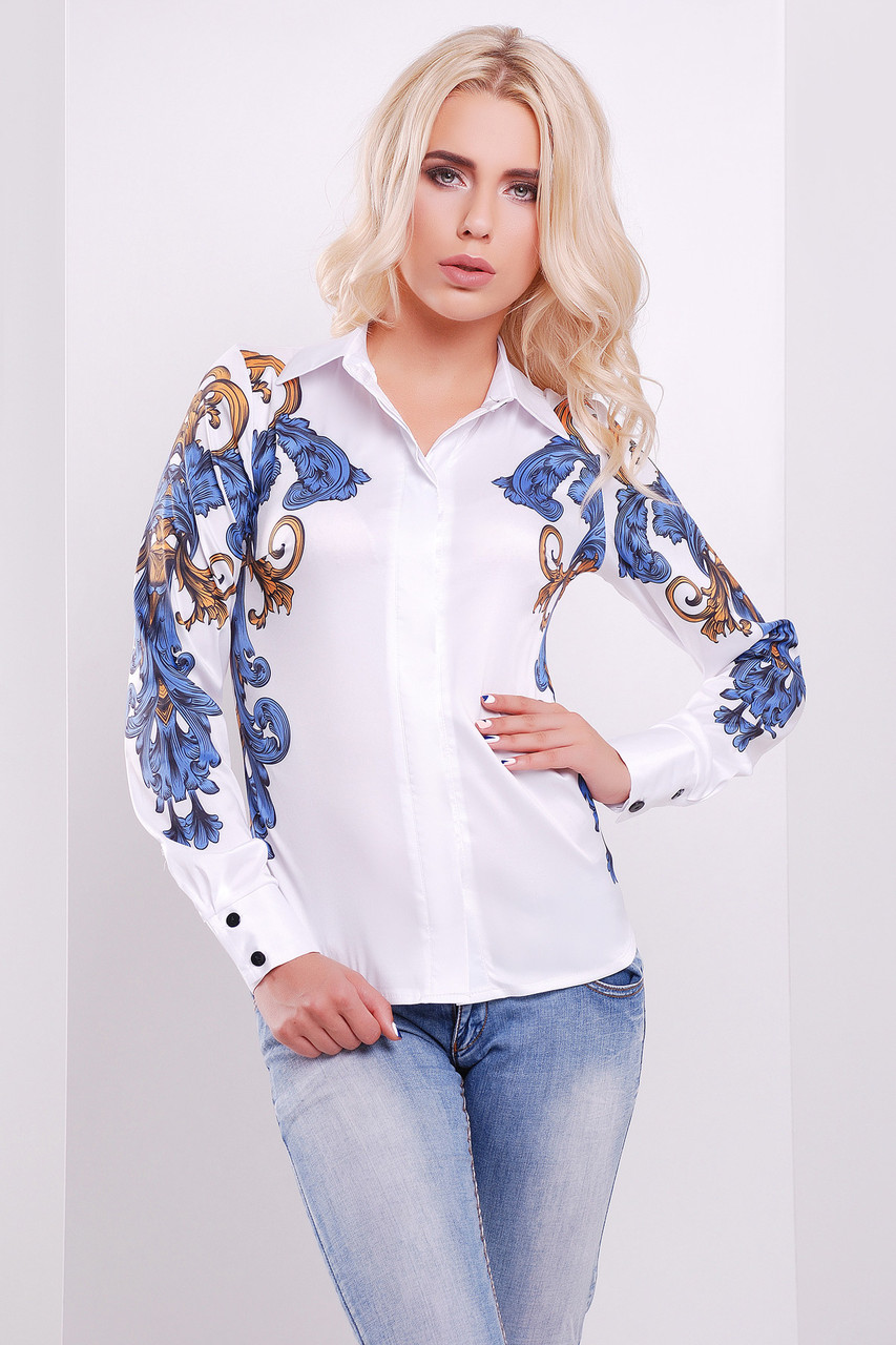 Узор сине-оранжевый Ларси-3 блуза glam