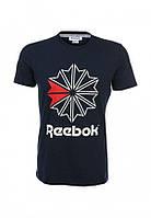 Модная футболка черная с принтом рибок,Reebok