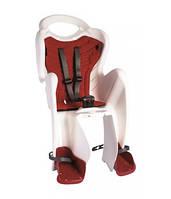 Сиденье задн. Bellelli Mr Fox Standart Multifix до 22кг, белое с красной подкладкой