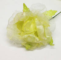 Цветок - розочка нежно-салатовая 4 см,