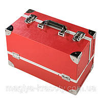 Кейс с выдвижными полочками и футляром для кистей, красный матовый