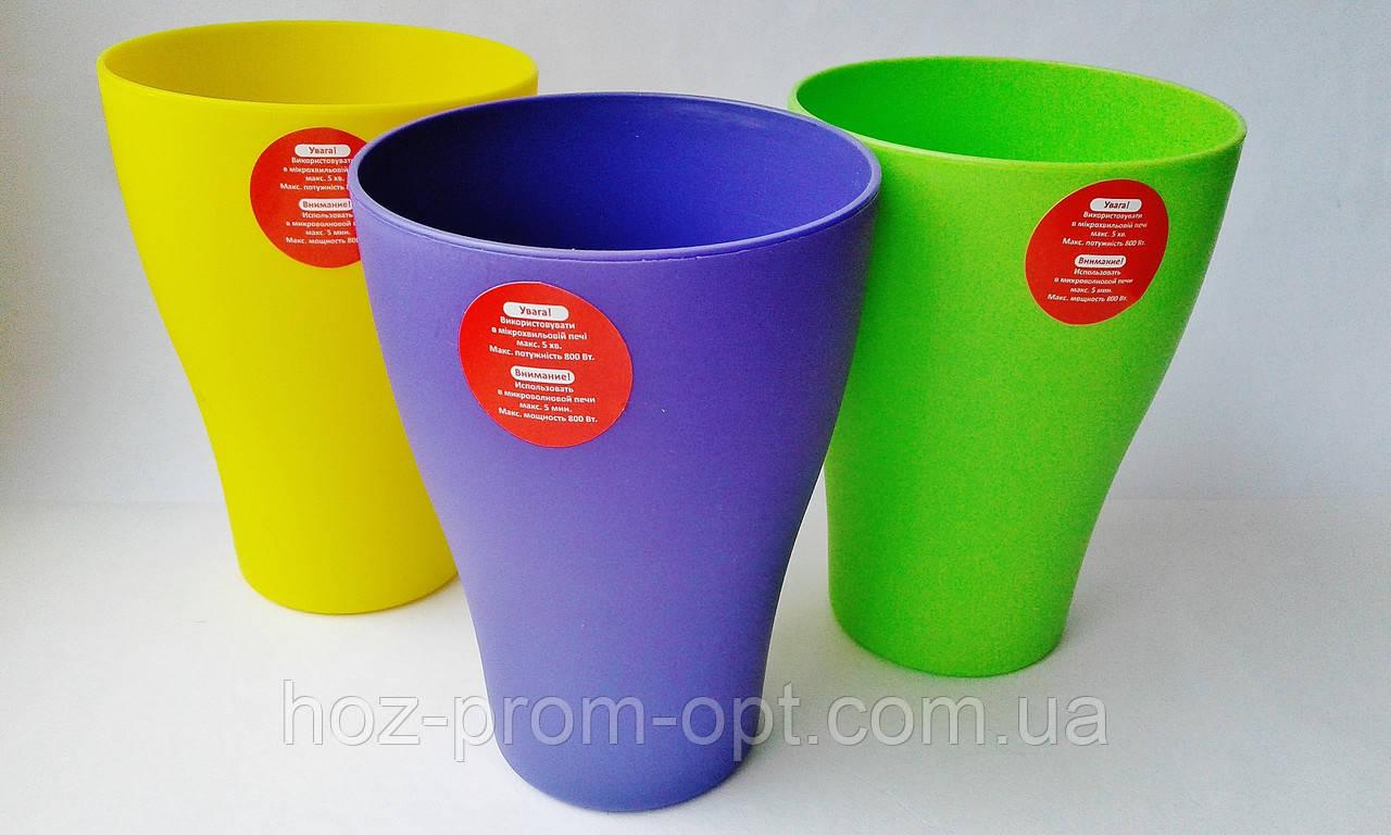 Стакан, 250 мл. пластик, може використовуватися в мікрохвильовці.