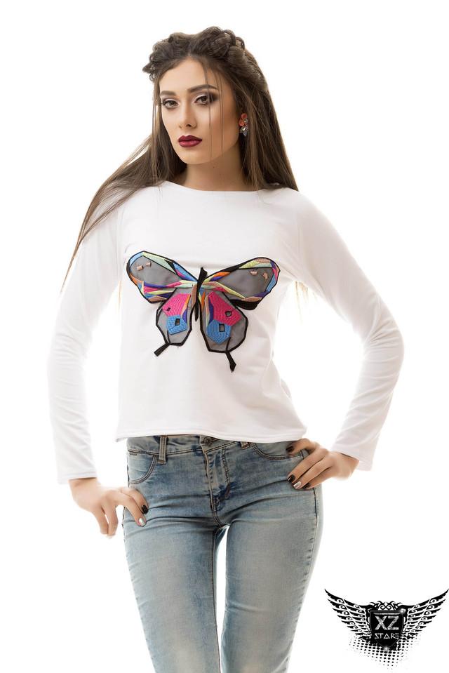 Женский свитшот белый черный серый, кофточка, с бабочкой А1