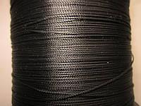 Нить полувощёная плетёная 0,8мм чёрная ИТАЛИЯ