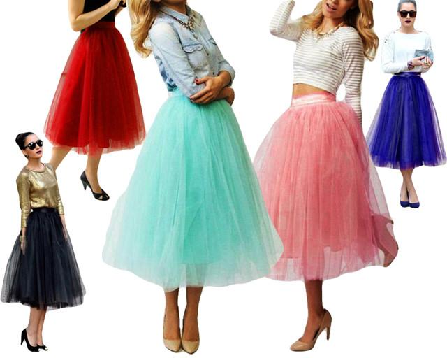 Пышная женская юбка из фатина