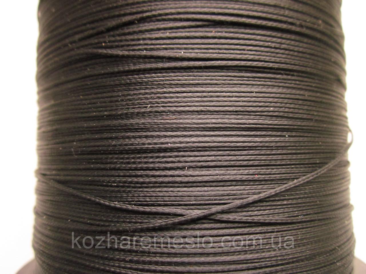 Нить полувощёная плетёная 0,8 мм жемчужная (тёмно-серая) ИТАЛИЯ 1000 метров