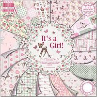 Набор скрап бумаги It's a Girl от First Edition, 20х20 см, 16 шт., фото 1
