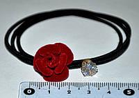 Резинки для волос - бархатная роза с камушком (5 шт)