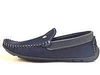 Подростковые мокасины для мальчиков замшевые синие Rosso Avangard. Alberto mS Blu Vel