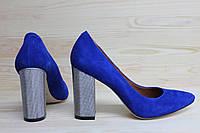 Замшевые туфли на серебристом каблуке, возможен отшив в других цветах