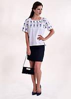 Эксклюзивная вышитая блузка на домотканном полотне, размер М