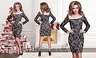 Черное гипюровое платье №060