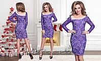 Гипюровое платье №060-фиолет