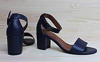 Женские босоножки из натуральной кожи темно-синего цвета, возможен отшив в других цветах