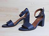 Жіночі босоніжки з натуральної шкіри темно-синього кольору, можливий відшиваючи у інших кольорах, фото 2