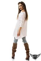 Платье - туника короткая  белая серая розовая светлая асимметрия, с карманами