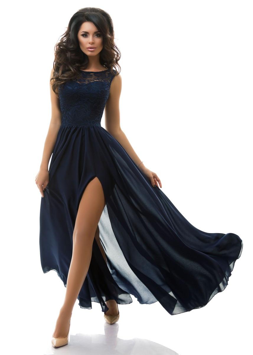 Женское вечернее платье Макси с разрезом р.42,44,46 - 3 цвета - Web-покупки УСПЕХ - Модная одежда оптом и в розницу  в Киеве