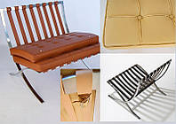 Каркас для кресла Барселона дизайн Mes van der Rohe с белыми ремнями