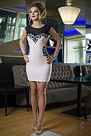 Нарядное Платье с прозрачной кокеткой пудра