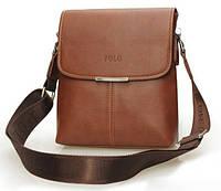 Сумка мужская Поло через плечо. Сумка Polo чоловіча. Кожаная сумка планшетка | Светло-коричневая