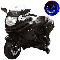 """Детский электромотоцикл BAMBI """"Ямаха"""" 2 мотора, 2 багажника, мягкое сидение Учебные колесики Светящиеся колеса"""
