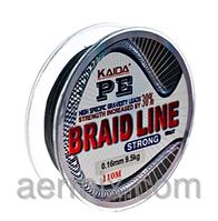 Сверхпрочная плетенка BRAID LINE KAIDA strong YX-112-40, шнур рыболовный 110м толщина 0,45мм черный