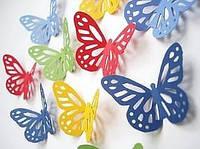 Бабочки 3Д цветные 4,5см 10 шт Вафельная картинка