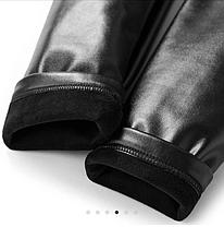 Женские стильные кожаные лосины с кружевами на флисе Арт.CZ909, фото 3