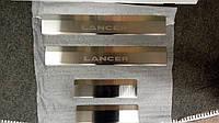 Накладки на пороги Mitsubishi Lancer X 2007- 4шт. Standart