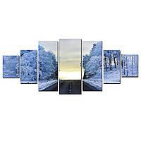 Модульные Светящиеся картины Startonight Холодная дорога, 7 частей