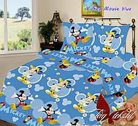 Полуторный комплект детского постельного белья ранфорс Mickey Mouse blue TM TAG